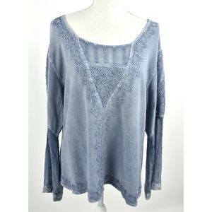 Noelle floral rayon India boho blue blouse top L